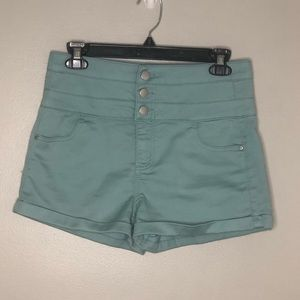Tinseltown teal Triple-Stacked high waist Shorts